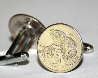 NEW ZEALAND Vintage 5 Cent Tuatara Lizard Coin Cufflinks Hand Made