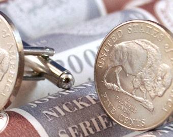 Buffalo Nickel Bison 5 Cents USA 2005 Coin Cufflinks