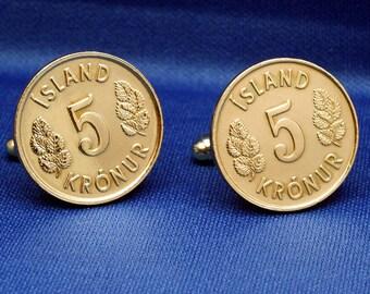 ICELAND 5 Krona Vintage Coin Cufflinks