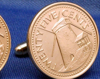Barbados Sugar Mill Coin Cufflinks - 25 Cents
