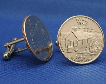 Iowa Education 2004 Quarter 25c USA Coin - New Cufflinks