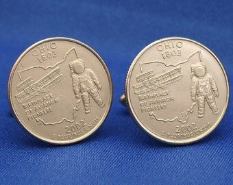 Ohio Aviation Pioneers 2002 Quarter 25c USA Coin - New Cufflinks