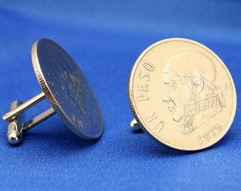 Mexico José María Morelos 1970s-80s 1 Peso Coin Cufflinks