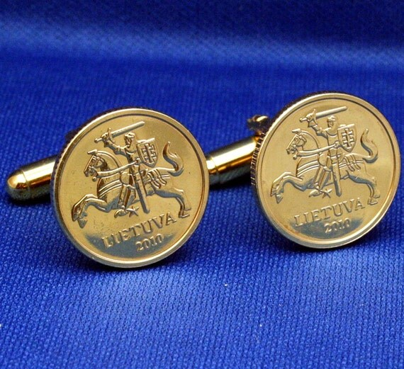 Lithuania Knight with Sword Shield 10 centu Coin 2010 Cufflinks