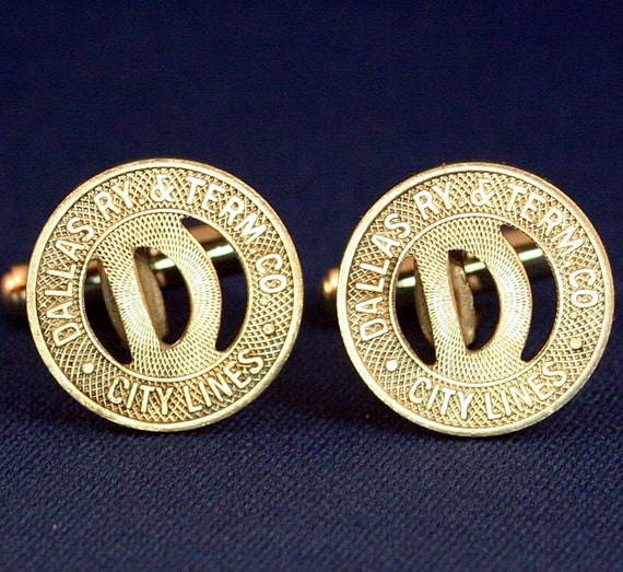 Dallas Railway & Terminal Co. Vintage Transit Token Cufflinks