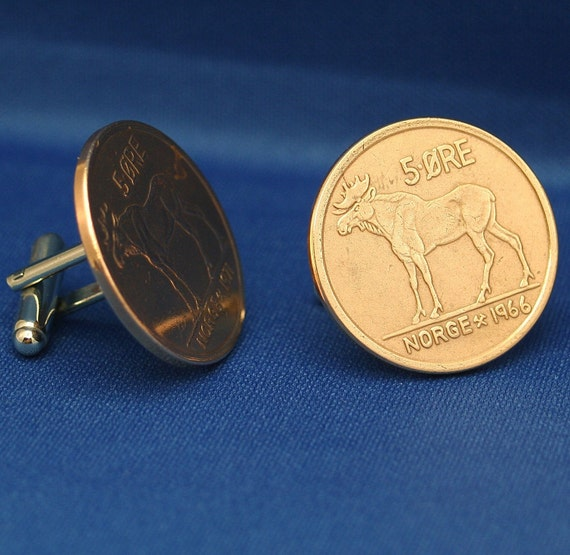 Moose Bronze Coin Cufflinks - Norway (Norge) Vintage 5 ore