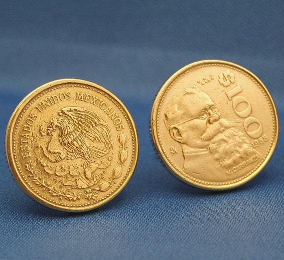 Mexico Vintage 100 Pesos Bronze Coin New By Subwaycufflinks