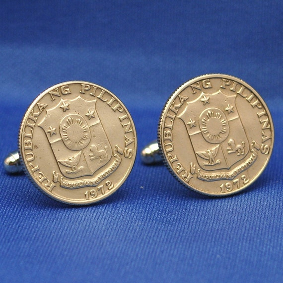 Philippines Coat of Arms Vintage 25s Coin - Cufflink
