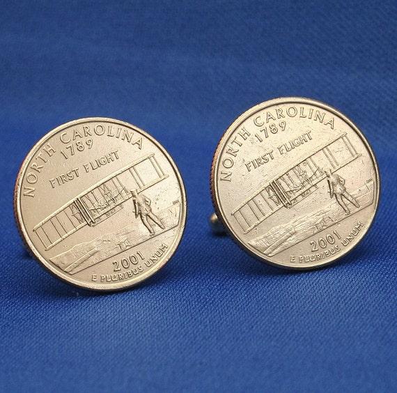 North Carolina First Flight 2001 Quarter 25c USA Coin - New Cufflinks