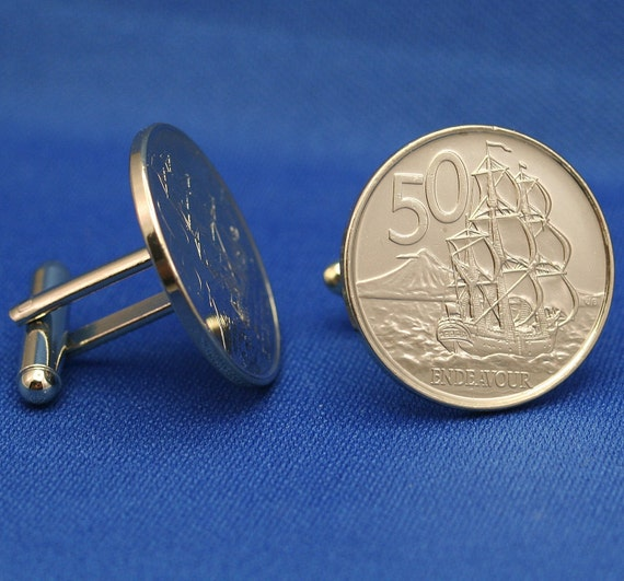 New Zealand Small 50 Cent Coin HMS Endeavor - New Cufflinks