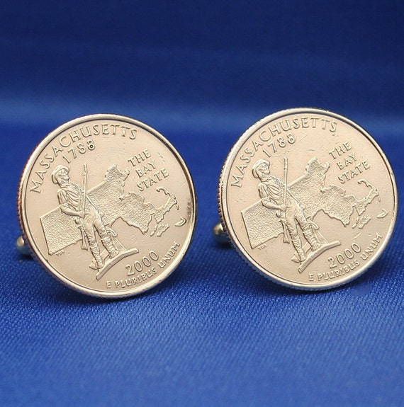 Massachusetts Bay State 2000 Quarter 25c USA Coin - New Cufflinks