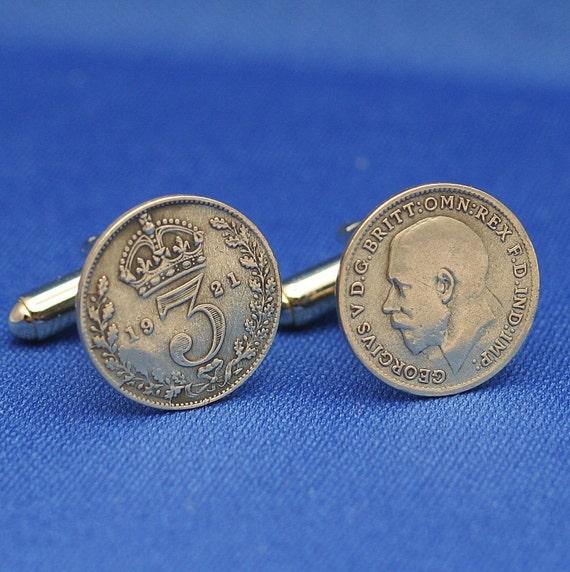 British Silver 3d Coin Crown Oak Wreath King George V - Cufflinks - England Great Britain UK