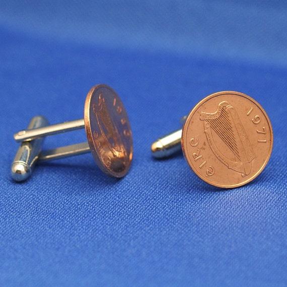 Harp Ireland Irish Half Penny Bronze Coin - Cufflinks