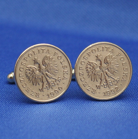 Poland Eagle 20 Groszy Coin Cufflinks - Polska Coat of Arms