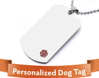 Personalized Jewelry - Medical Alert - Classy alert dog tags Personalized stainless steel - Important For Your Safety