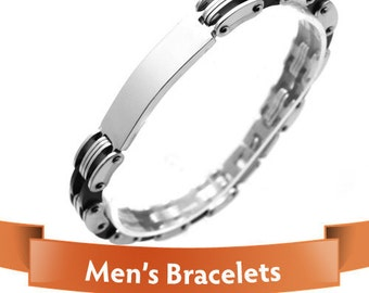 Personalized jewelry - Mens Bracelets - Awesome Silver and Black Color Links personalize bracelet - Your Gift for Him