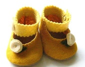 Mustard Love Felt Baby Booties Soft Shoes Yellow Cream