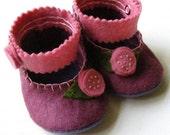The Plum Rose Felt Baby Booties Soft Shoe