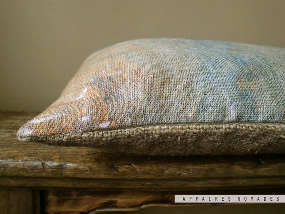 """Linen and recycled burlap. Throw Pillow  12 """" x 16 """" OOAK  ..  Ethnic moment /  FRAGMENTS"""