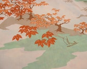 Asian Print Twin Flat in Peach, Orange, Green and Brown Bed Sheet by Springmaid