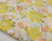 Floral Bed Sheet in Yellow, Orange, Peach, Olive and Taupe Flowers Print Full Double Size Fitted