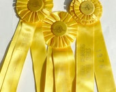 Horse Show Ribbons Equestrian Awards Rosettes Lot Mustard Yellow and Gold Vintage 1970s