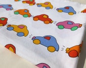 Rainbow Cars Fabric White Cotton with Pink, Red, Orange, Yellow, Green and Blue Autos Similar to Marimekko 1 Yard