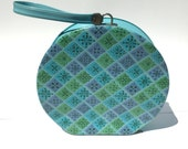 Round Suitcase Travel Case Luggage Purse in Aqua, Blue, Mint Green and Purple Lilac Retro Mod Squares Snowflakes Print Vinyl Hair Dryer Case