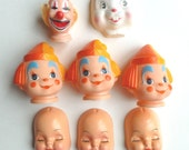 Doll Parts Lot Heads Faces Clowns, Baby, Bunny Rabbit Plastic Creepy Cute Craft Doll Making Supplies Made in Hong Kong