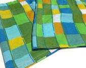 Geometric Window Valances in Green, Olive, Royal Blue, Sky Blue, Teal, Orange and Mustard Yellow Squares Window Curtains Pair Rod Pocket