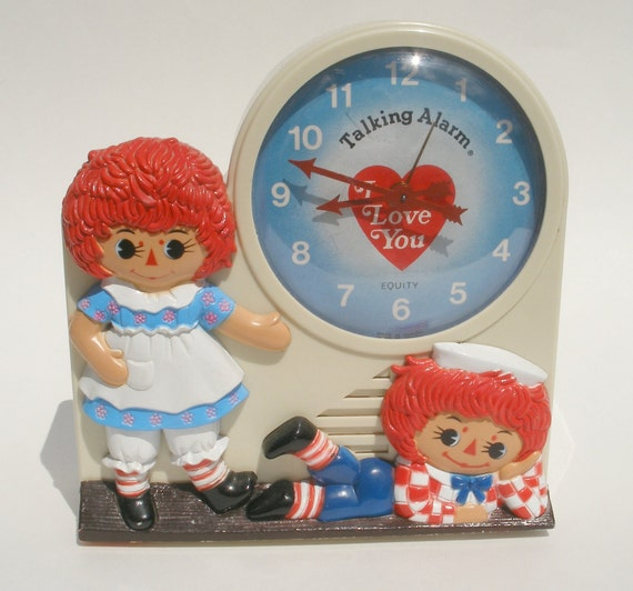 Raggedy Ann and Andy Alarm Clock Bobbs Merrill Company Janex Equity 1974 Vintage Collectible