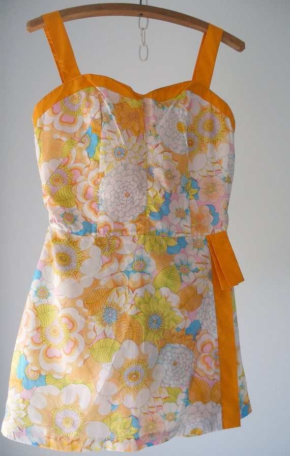 Gabar Romper Swimsuit Bathing Suit 1950s Tangerine, Yellow and Blue Floral