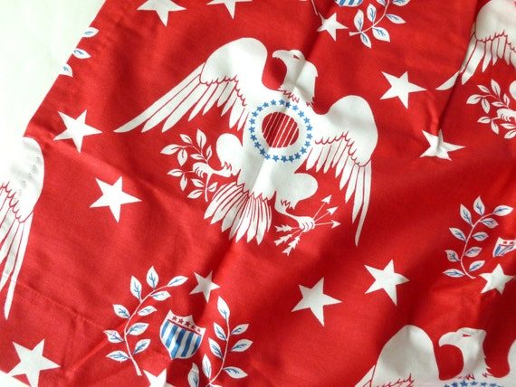 Red, White and Blue Eagles and Stars Cafe Curtain Panels Patriotic Independence Day Americana Flag Day Pinch Pleat with Rings Mid Century
