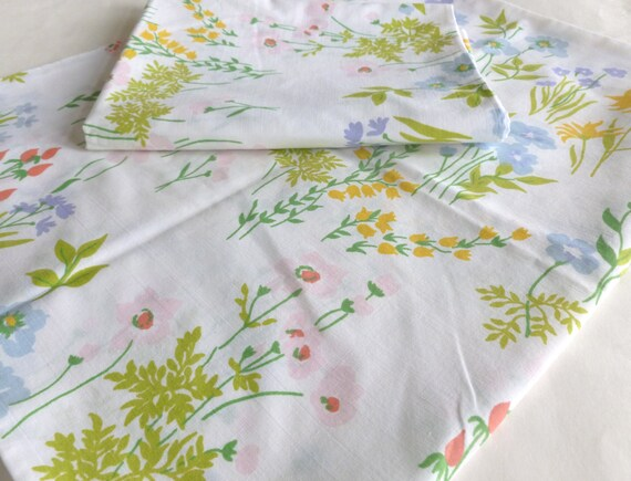 Wildflowers Floral Pillowcases Pair in Red, Pink, Yellow, Greens, Blue and Lilac Pastels by Utica J.P. Stevens Pillow Case Set of Two
