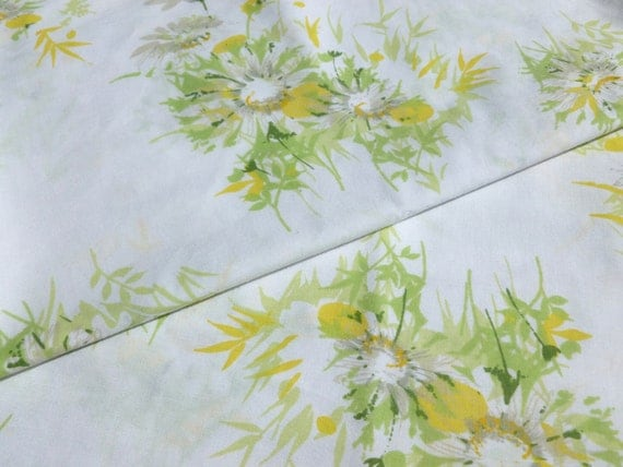 Daisies Pillowcases Pair in Yellow, Green, and Gray on White Floral Flowers Pillow Case Set of Two by Springmaid