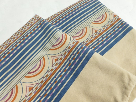 Mod Geometric Stripes and Arcs Pillowcases Pair in Purple, Bittersweet, Wine and Navy Blue on Tan Pillow Case Set of Two by Wamsutta