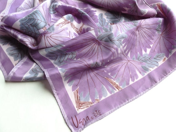 Vera Neumann Scarf in Purple, Lavender and Teal Flowers Designer Accessory Oblong Acetate with Ladybug Logo 1960s