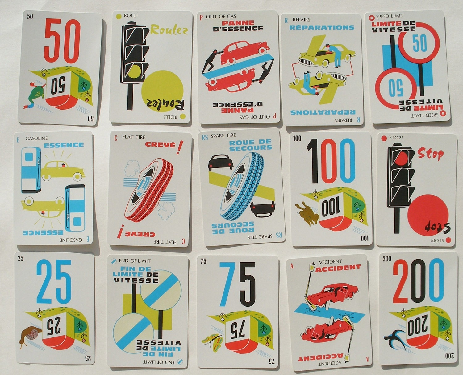 vintage french mille bornes playing cards game by parker. Black Bedroom Furniture Sets. Home Design Ideas