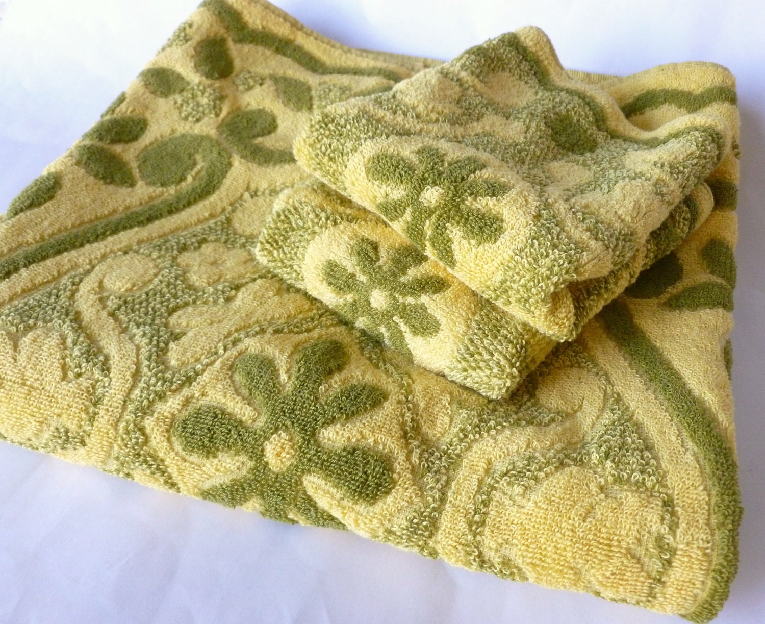 Bath Towels Set In Mustard Yellow And Olive Green By Texcraft