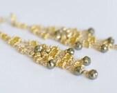 Earrings, Chandelier Earrings, Yellow, Gold Chandelier Earrings