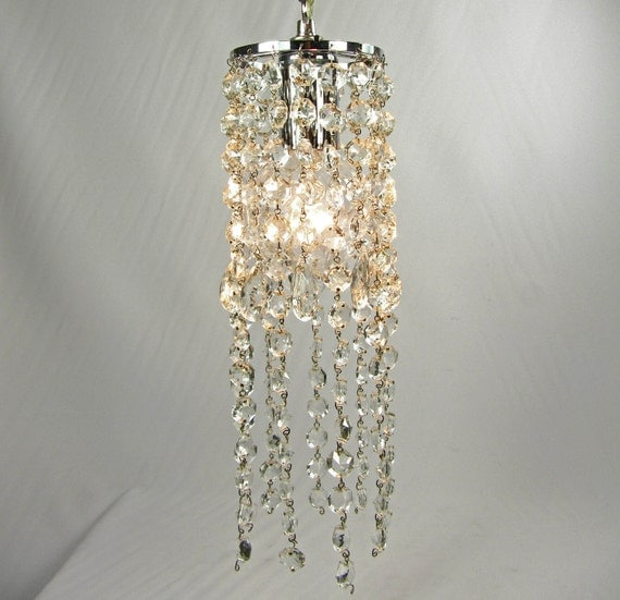 Crystal Chandelier Pendant Light Crystal Prisms Nickel