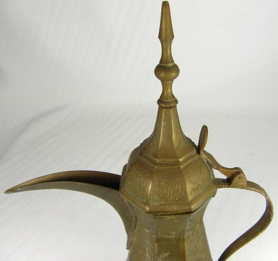 """Dallah Coffee Pot Vintage Arabic Brass 11.5"""" Ht"""