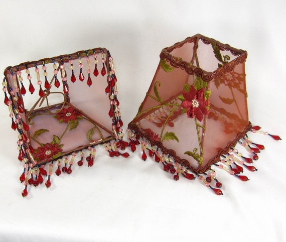 Pair Lamp Shades Small Square Embroidered Red Copper Beaded Fringe