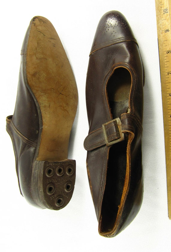 1920s Shoes Flapper Deco Antique Brown Leather Vintage Charleston