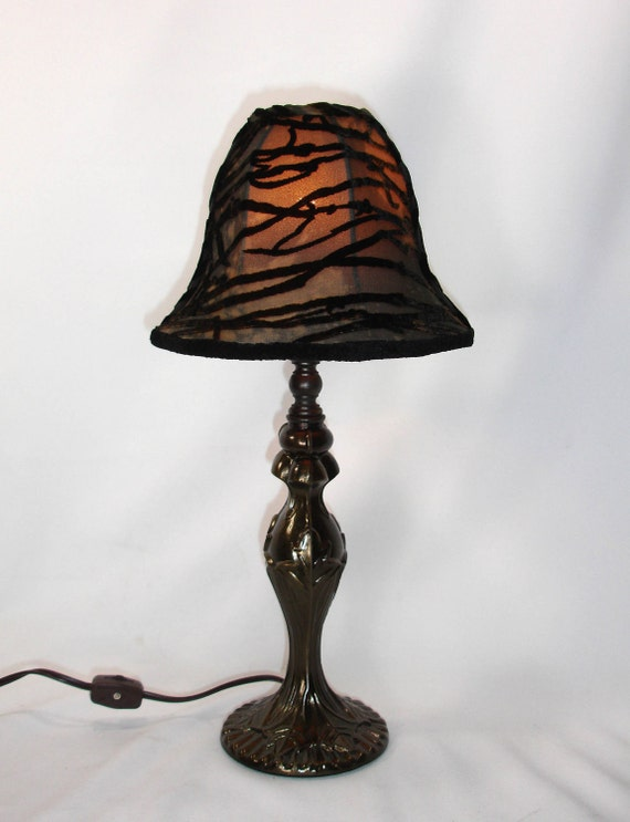 Lamp Shade Small Cut Velvet Silk Black Grey Bell Custom Handmade NYC
