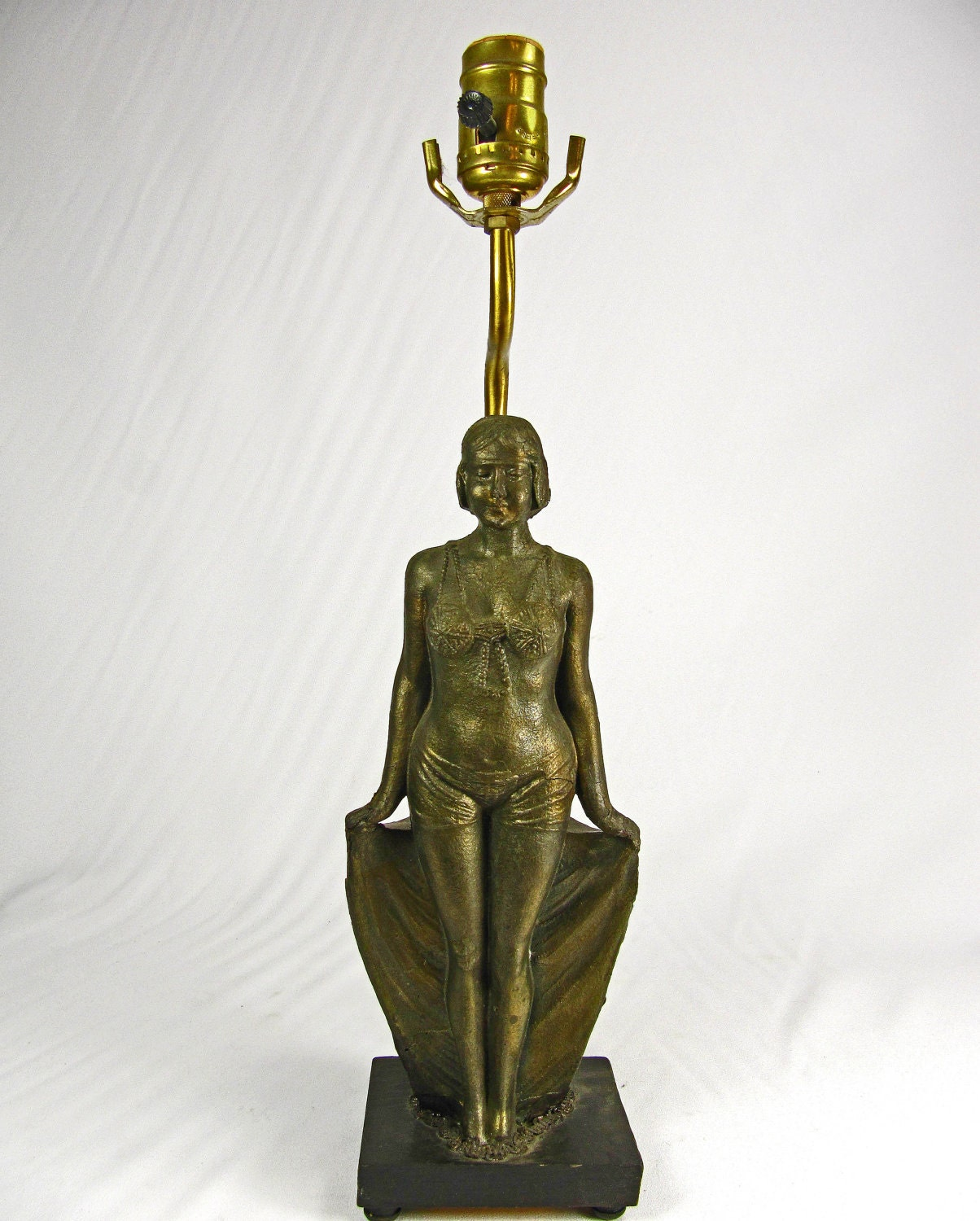 Table Lamp 1920s Vintage Art Deco Lady Figure Brass