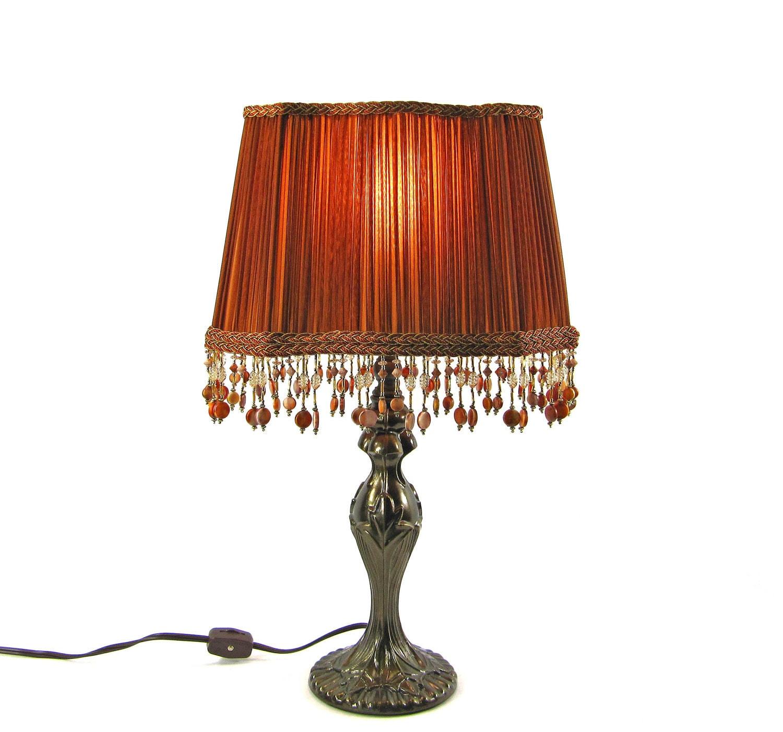 Table lampshade custom handmade design pleated burnt orange - Hand made lamps ...
