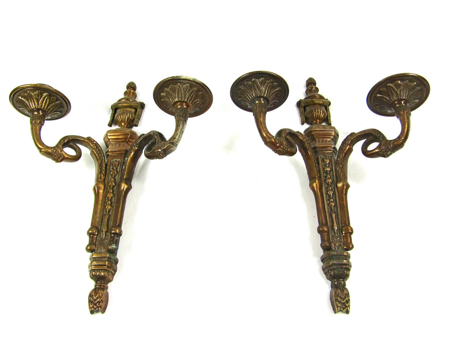 Pair Candle Wall Sconces Antique Brass Bronze Finish by JudisLamps