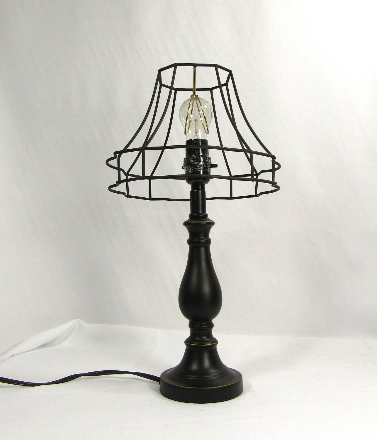 Black Lamp Minimalist Shade Wire Frame Hand Made Table Lamp