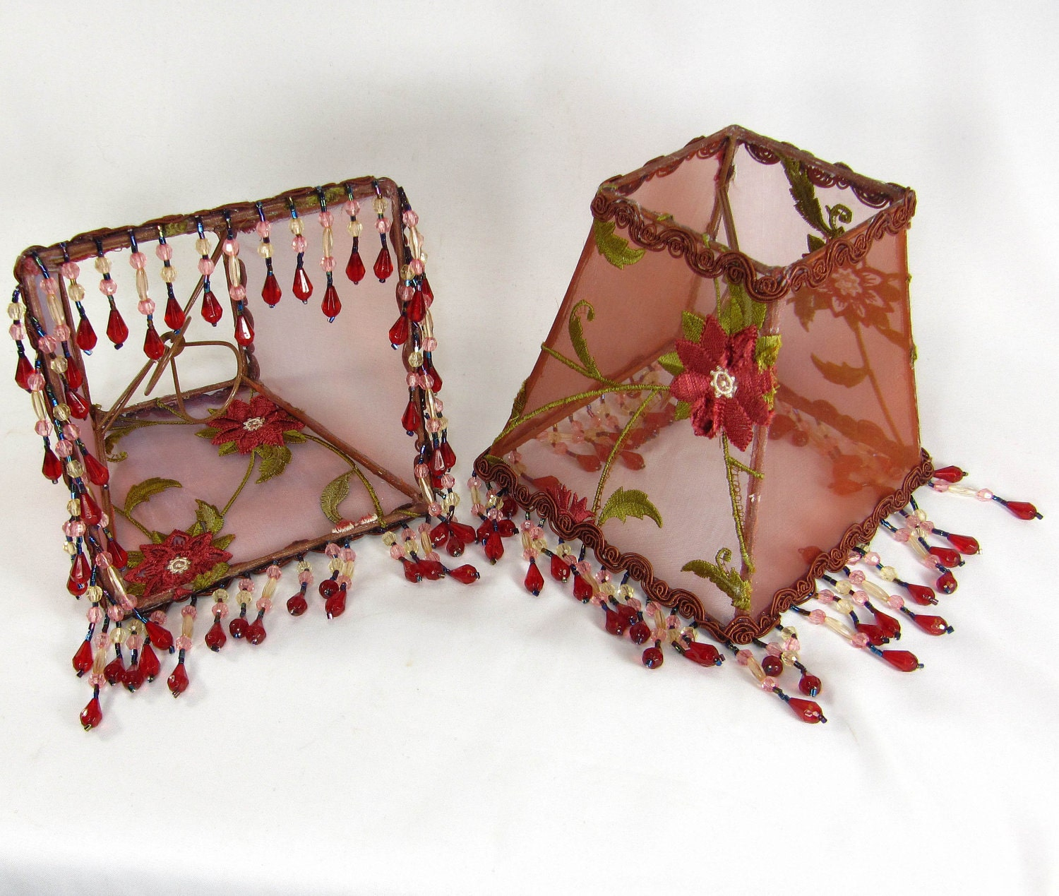 Pair Lamp Shades Small Square Embroidered Red Copper Beaded